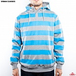ТОЛСТОВКА URBAN CLASSICS STRIPED HOODY (GREY-TURQUOISE, L)