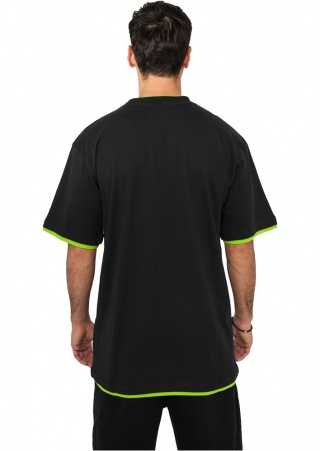 ФУТБОЛКА URBAN CLASSICS CONTRAST TALL TEE (BLACK-LIMEGREEN, 6XL)