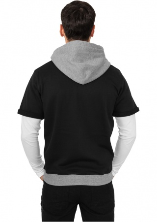 Толстовка URBAN CLASSICS Light Fleece Shortsleeve Zip Hoody (BLACK-GREY, 2XL)