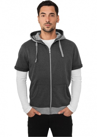 Толстовка URBAN CLASSICS Light Fleece Shortsleeve Zip Hoody (CHARCOAL-GREY, 2XL)