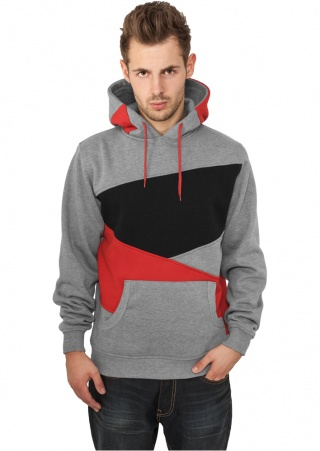 ТОЛСТОВКА URBAN CLASSICS ZIG ZAG HOODY (GREY-RED-BLACK, 3XL)