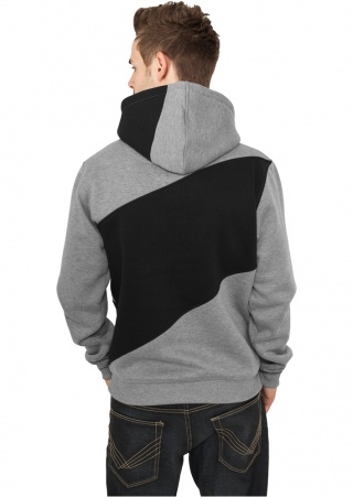 ТОЛСТОВКА URBAN CLASSICS ZIG ZAG HOODY (GREY-BLACK-CHARCOAL, 3XL)